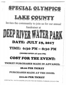 Deep River Water Park annual special olympic fundraiser