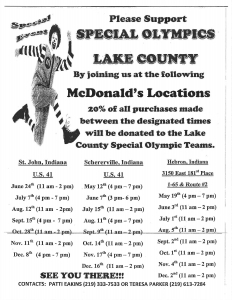 McDonalds Special Olympic Fundraiser