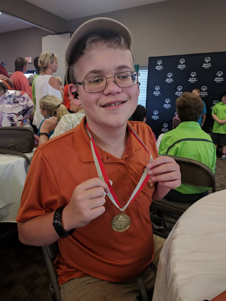 Conner Caffarini with his medal