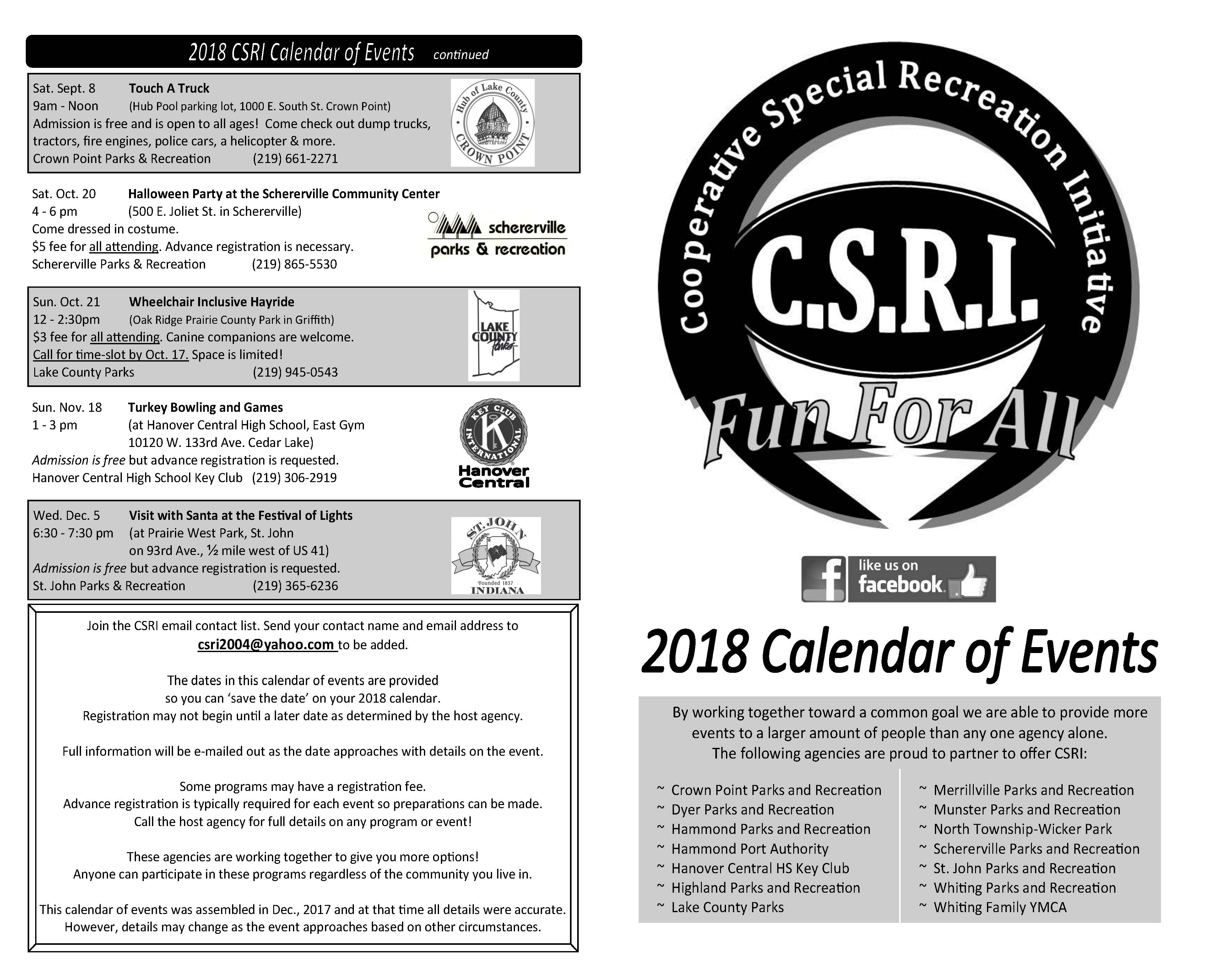 CSRI 2018 Calendar of Events - Please Click the Flyer for Information