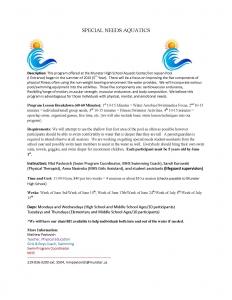 Special Needs Aquatics Summer 2019 Flyer